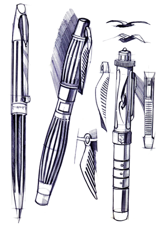 Draft sketch development of the design of an exclusive pen and ballpoint pen. An illustration is drawn by hand on paper with the use of pens and colored pencils. Reklamní fotografie - 107992556