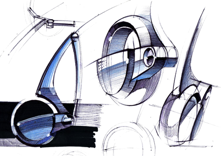A design drawing of a compact vehicle based on osmo wheels. Illustration executed by hand on paper with watercolor and pen.