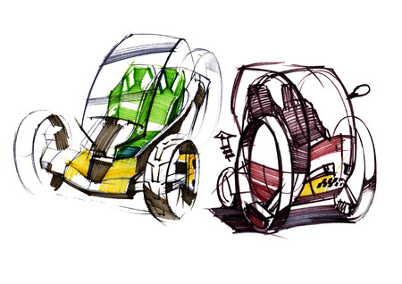 Sketch design is an exclusive compact electric car project for the city. Illustration executed by hand on paper with watercolor and pen. Reklamní fotografie - 107992572