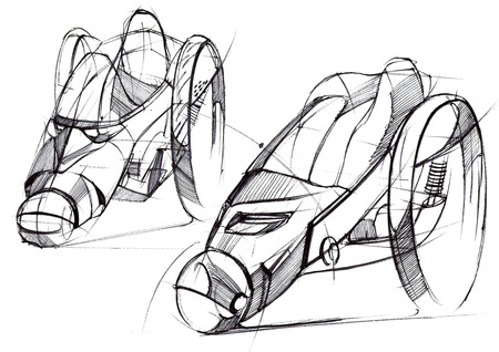 Sketch design is an exclusive compact electric car project for the city. Illustration executed by hand on paper with watercolor and pen. Reklamní fotografie - 107992575