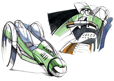 Sketch design is an exclusive compact electric car project for the city. Illustration executed by hand on paper with watercolor and pen. Reklamní fotografie - 107992581