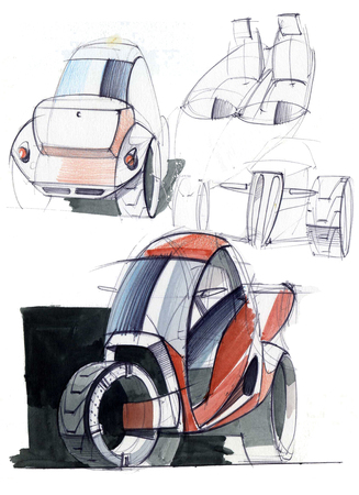 Sketch design is an exclusive compact electric car project for the city. Illustration executed by hand on paper with watercolor and pen. Reklamní fotografie - 107992583