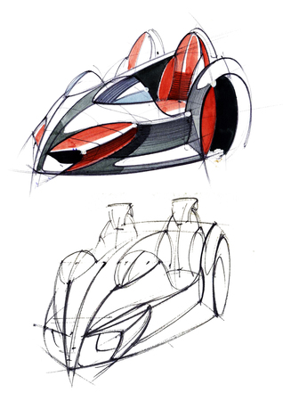 Sketch design is an exclusive compact electric car project for the city. Illustration executed by hand on paper with watercolor and pen. Reklamní fotografie - 107992584