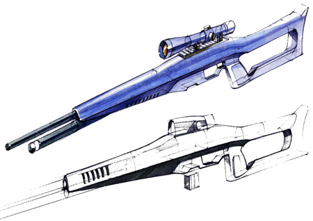 Sketch design is a project of a modern versatile lightweight rifle. The illustration is drawn on paper using watercolor paints and pens. Reklamní fotografie - 107990287