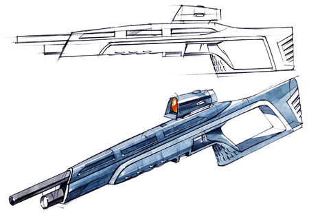 Sketch design is a project of a modern versatile lightweight rifle. The illustration is drawn on paper using watercolor paints and pens. Reklamní fotografie - 107990288