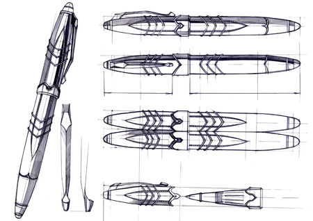 Draft sketch development of the design of an exclusive pen and ballpoint pen. An illustration is drawn by hand on paper with the use of pens and colored pencils. Reklamní fotografie - 107990292