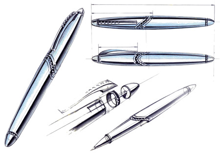 Draft sketch development of the design of an exclusive pen and ballpoint pen. An illustration is drawn by hand on paper with the use of pens and colored pencils. Reklamní fotografie - 107990293