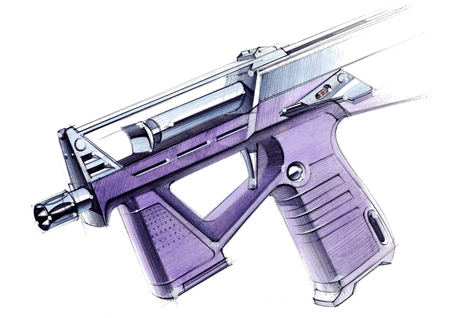 Picture of an exclusive automatic weapon submachine gun for melee. Illustration drawn by hand on paper with watercolors and pen. Foto de archivo - 108264260
