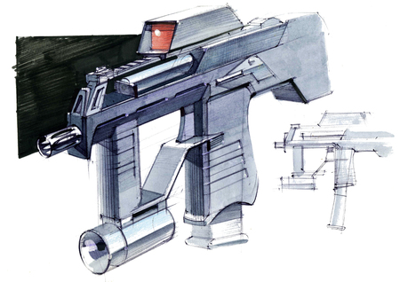 Picture of an exclusive automatic weapon submachine gun for melee. Illustration drawn by hand on paper with watercolors and pen. Reklamní fotografie