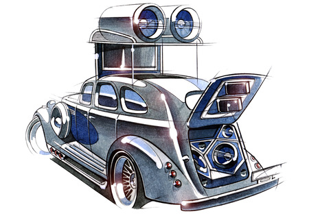 The sketch project is a demo of a retro car for participation in the festival on acoustic systems and auto sound. Illustration is made by hand using watercolors and pens.
