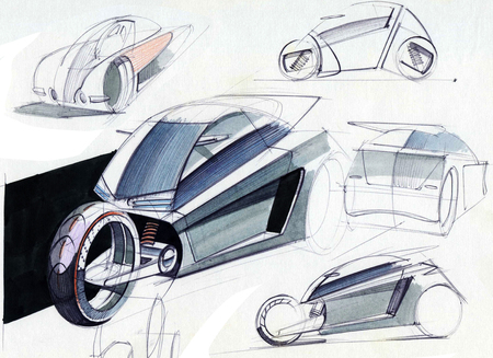 Sketch design is an exclusive compact electric car project for the city. Illustration executed by hand on paper with watercolor and pen.