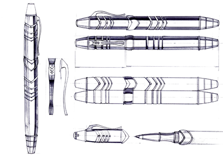 Draft sketch development of the design of an exclusive pen and ballpoint pen. An illustration is drawn by hand on paper with the use of pens and colored pencils. Reklamní fotografie