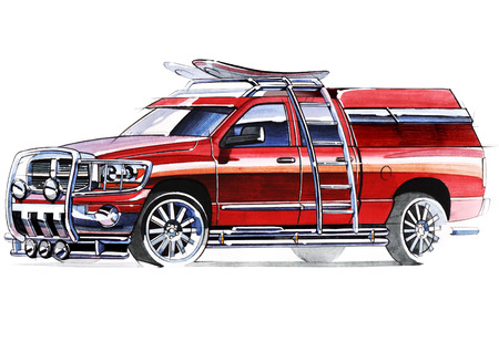 A sketch of a steep SUV pickup for outdoor activities. Illustration drawn by hand on paper with watercolors and pen. Reklamní fotografie - 108266726