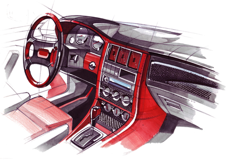 Drawing of the exclusive interior design of the car with the elaboration of all the elements of the modern passenger compartment of the vehicle. Illustration is made by hand using watercolors, paper and pens.