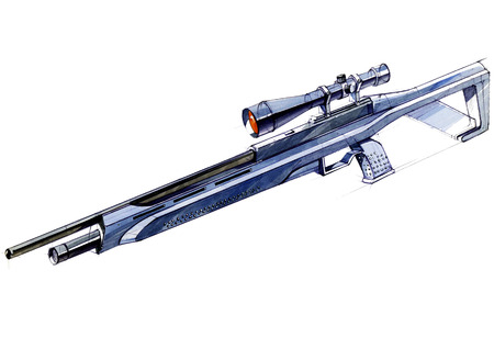 Sketch design is a project of a modern versatile lightweight rifle. The illustration is drawn on paper using watercolor paints and pens. Foto de archivo - 109114285