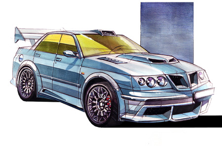 Sketch urban youth car in a sporty style with a powerful high-speed motor. The illustration is made by an individual idea by hand using materials of paper, watercolors and pens.