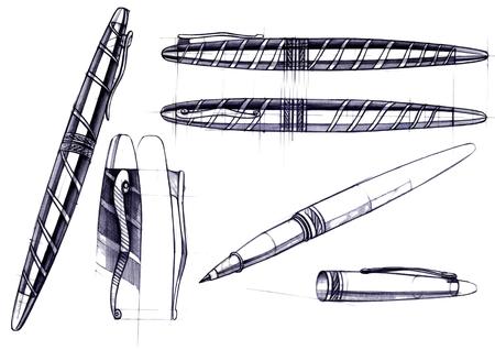 Proyecto de dibujo de desarrollo del diseño de una pluma y pluma talladas . ilustración dibujada a mano está a mano en papel con el uso de plumas y lápices de colores Foto de archivo - 109114377
