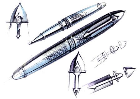 Proyecto de dibujo de desarrollo del diseño de una pluma y pluma talladas . ilustración dibujada a mano está a mano en papel con el uso de plumas y lápices de colores Foto de archivo - 109114383