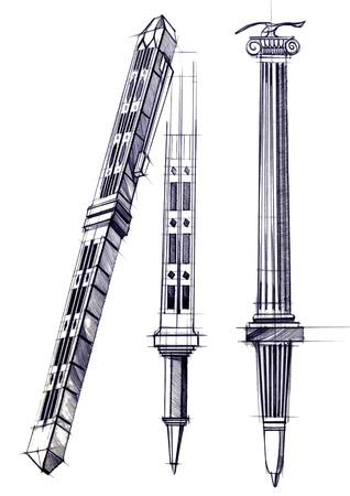 Proyecto de dibujo de desarrollo del diseño de una pluma y pluma talladas . ilustración dibujada a mano está a mano en papel con el uso de plumas y lápices de colores Foto de archivo - 109114394
