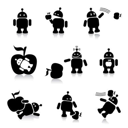 robot and apple illustrations Vector