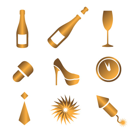 New year s icons Vector