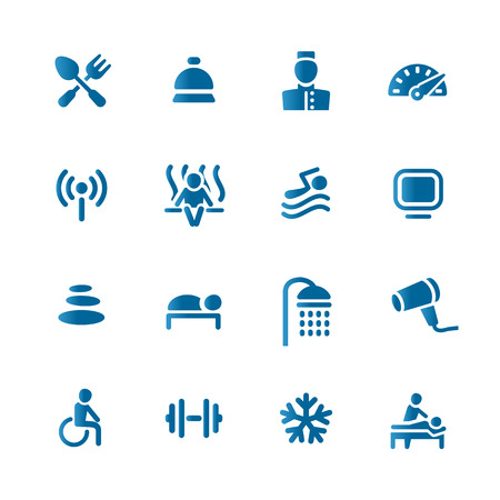 SPA Hotel set icon Vector