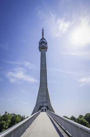 Belgrade, Serbia - July 09, 2017: Avala Tower front view, Avala, Belgrade, Serbia