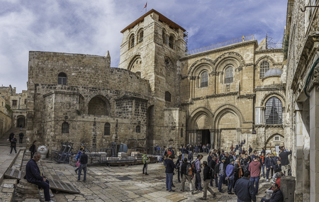 Jerusalem, Israel - December 04, 2016: Exterior and main entrance to the Church of the Holy Sepulchre, Jerusalem