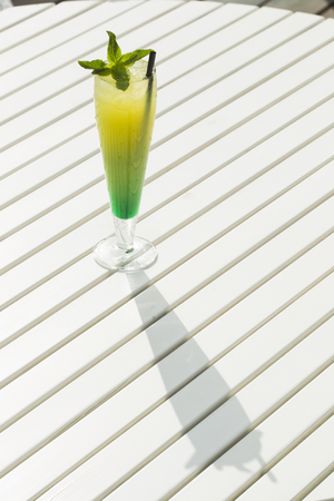 countertops: The cold lemonade with mint and ice on the outdoor veranda summer day, sunlight. Stock Photo