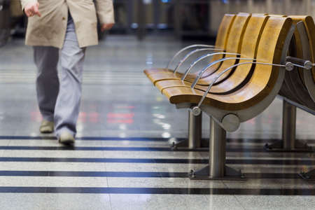 artificial light: Benches in the lobby, underground, artificial light Stock Photo
