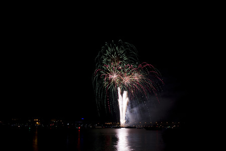 kostroma: Fireworks fireworks over night river