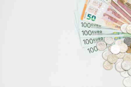 Finance. Money. Euro. Rubles. Dollar bills on a white background. Top view. Studio light