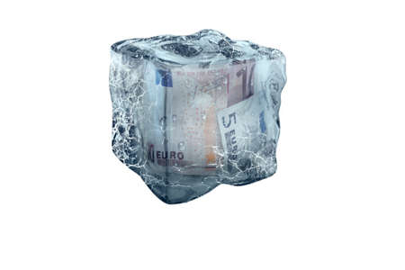 Frozen Euro money in ice cube, isolate on a white background