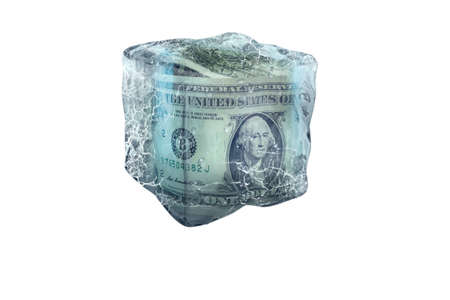 Frozen American money in ice cube, isolate on a white background
