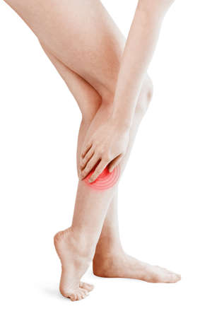 Pain spot. Isolated woman legs being massaged