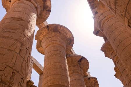 Pillars at Karnak Temple. Great Hypostyle of Luxor, Egypt