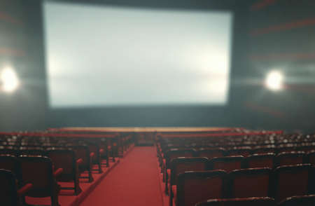 Empty room in the cinema with a large blue screen