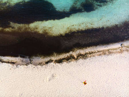 Top view of the polluted sea view from drone