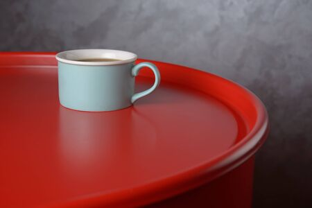 Blue cup of coffee on brick wall background Imagens
