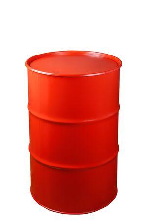 Red iron barrel isolated on white background Imagens