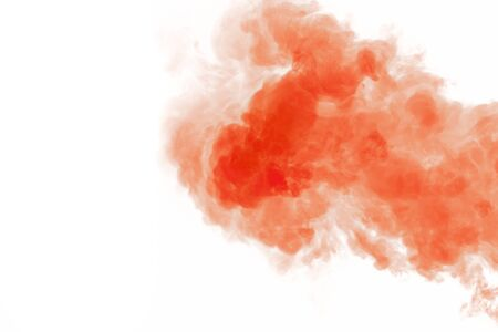 Coral smoke on white isolated background close-up