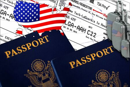 Illustration with two US passports, three suitcases, tickets, and a US flag shape.