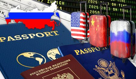 Illustration with a US passport Rossiysky, passport, passport, three suitcases with Chinese flags, Russian and American, tickets and the flag of Russia in the form of a silhouette of Russia. Zdjęcie Seryjne