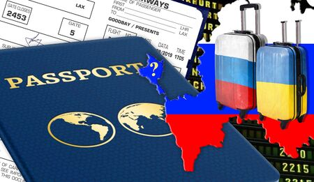 Illustration with the Crimea and the question, passport, suitcases with the Russian flag and Ukrainian, tickets. Stock Photo