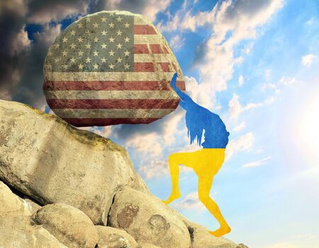 The silhouette of the flag of Ukraine in the form of a girl raises a stone in the mountain in the form of the silhouette of the flag of the United States.