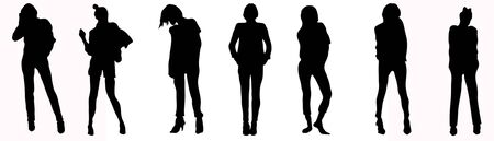 Silhouettes of young girls in a dress on a white background 写真素材