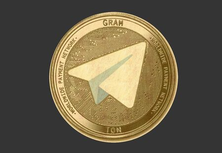 Gold coin Cryptocurrency gram, ton, Round on a dark background