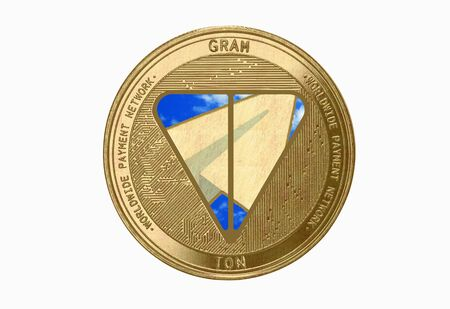 Gold coin Cryptocurrency gram, ton, Round on a white background Zdjęcie Seryjne