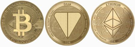 Gold coins cryptocurrency gram, ethereum, bitcoin on a white background