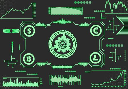 Abstract futuristic dashboard with currency charts on a dark background.